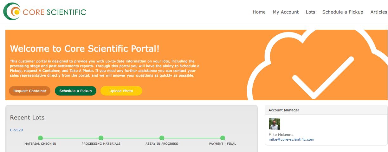 Core Scientific Customer Community Portal Screenshot