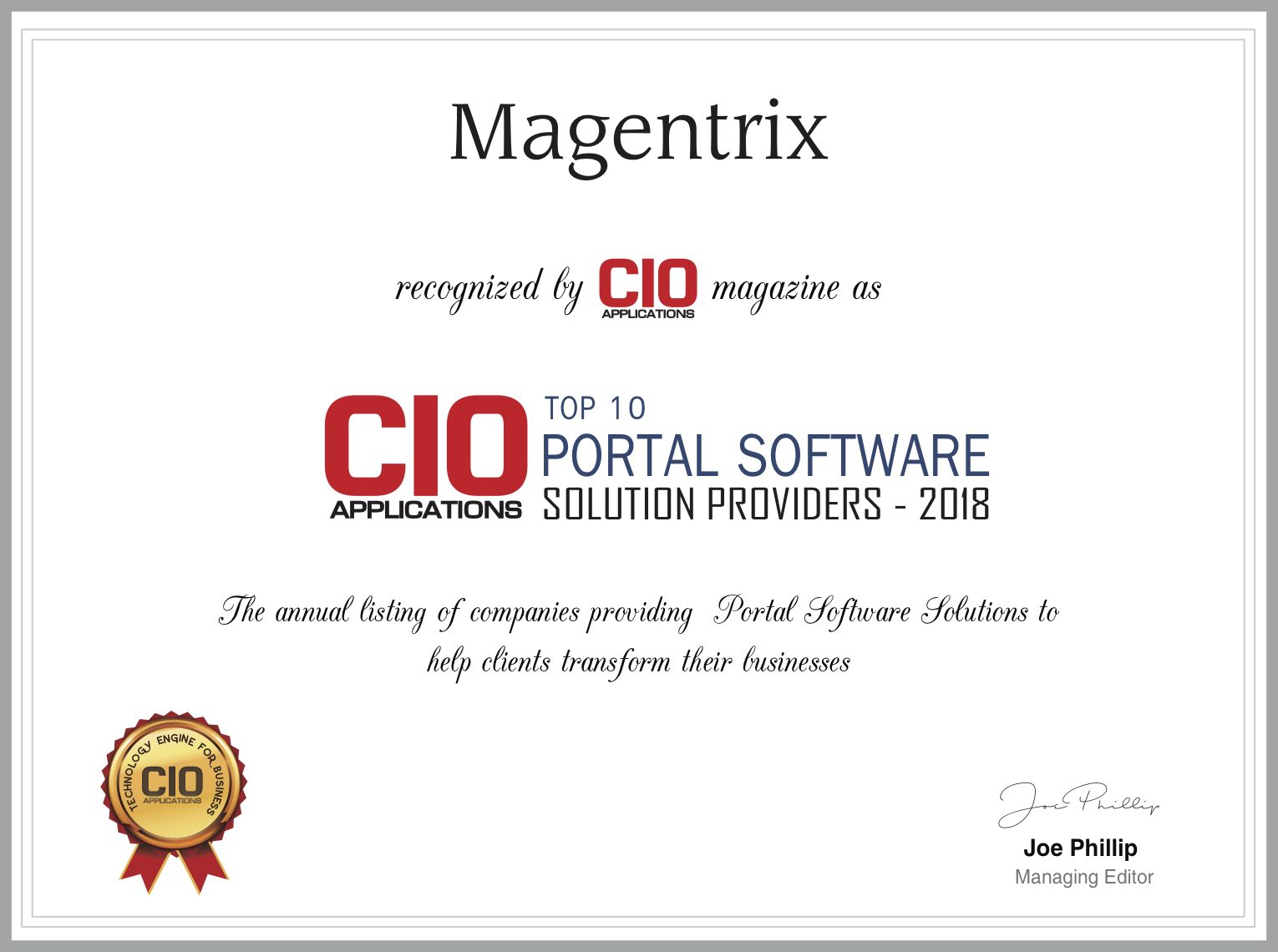 Magentrix Recognized as top 10 portal software solution providers