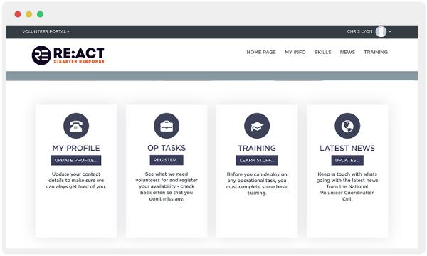 RE:ACT volunteer portal