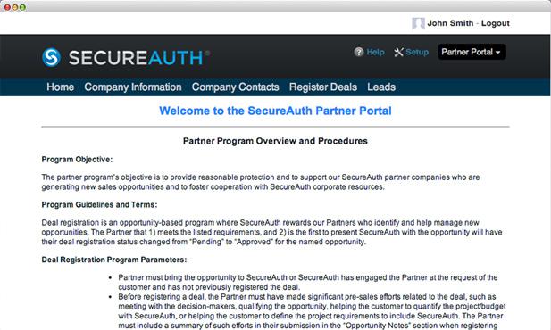 SecureAuth partner portal